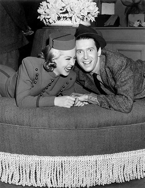 thisisnodream:  Lana Turner and James Stewart on the set of Ziegfeld Girl, 1941.