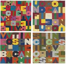 "Boetti at auction: 4 nice embroidered tapestries ""arazzi"" to be sold by Christie's NY 19 Sept @ChristiesInc Rockefeller Plaza. The auction house will offer each of them with an estimate of 25-35.000 $, and their average size is circa 23 x 23 cm. They were all bought from the same gallery, so probably they all come from the same collection. These are the links to the 4 lots: Lot 15: linkLot 16: linkLot 17: linkLot 18: link"