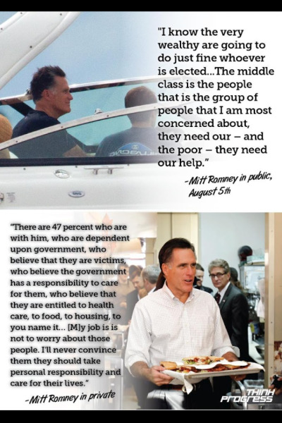 amazingatheist:  lycanpedia:  Romney in public, Romney in private  Yeah. He is a rare breed of scumfuck.    If you haven't heard about the Mother Jones video, learn about it here.