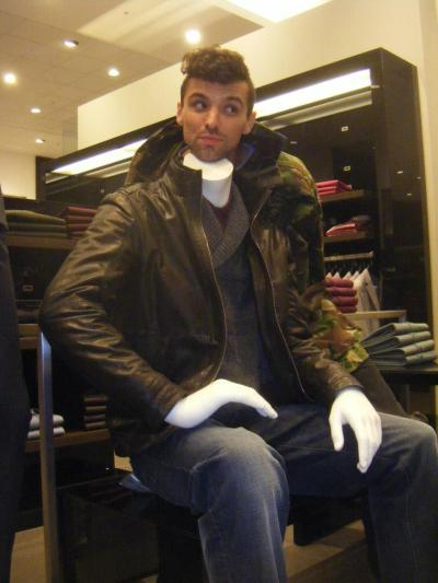 We have worked out a new way of trying on clothes in expensive department stores such as Selfridges/Debenhams. Thankfully, this stress-free method can be employed using the headless dummies dotted around! We also got in a bit of trouble for throwing props to one another. Apparently, Jack Wills or whoever just want you to look at their vintage rugby balls and polo bats or whatever the fuck they were. Anyway - GOOD TIMES.