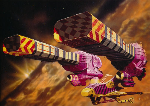 Chris Foss. What can I say? One of the most recognisable science fiction book cover artists of the 1970s and for my money the best. This is 'Guild Tug' from 1975, one of his designs for Alejandro Jodorowsky's unfilmed Dune.