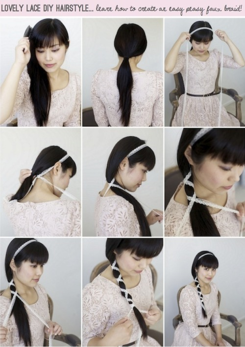 DIY Faux Lace Braid and Headband Tutorial from Bridal Musings here. One image download. Photography by Simply Jessie Photography.