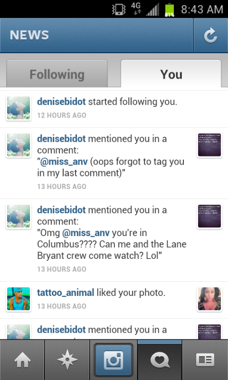 So, I'm currently dyyyyyyying.  Denise Bidot, yall. THE Denise Bidot. Not only did she respond to me on Instagram, AND follow me, but shes actually in my city the night her show Curvy girls premiers on Nuvo, and is coming over to watch it personally!! Is this real life? Yo. I'm trippin'.  I can't even begin to explain the level of ecstatic that I've surpassed. I will be sure to keep everyone in the social media world up to date on the happenings of today.  AHHHHHHH!!!! xD xD xD!