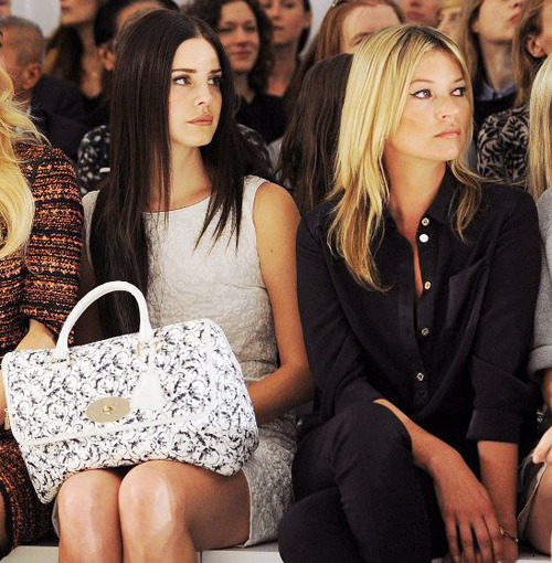 heart-is-a-beating-drum:  lana del rey and kate moss sitting front row at mulberry spring/summer 2013.