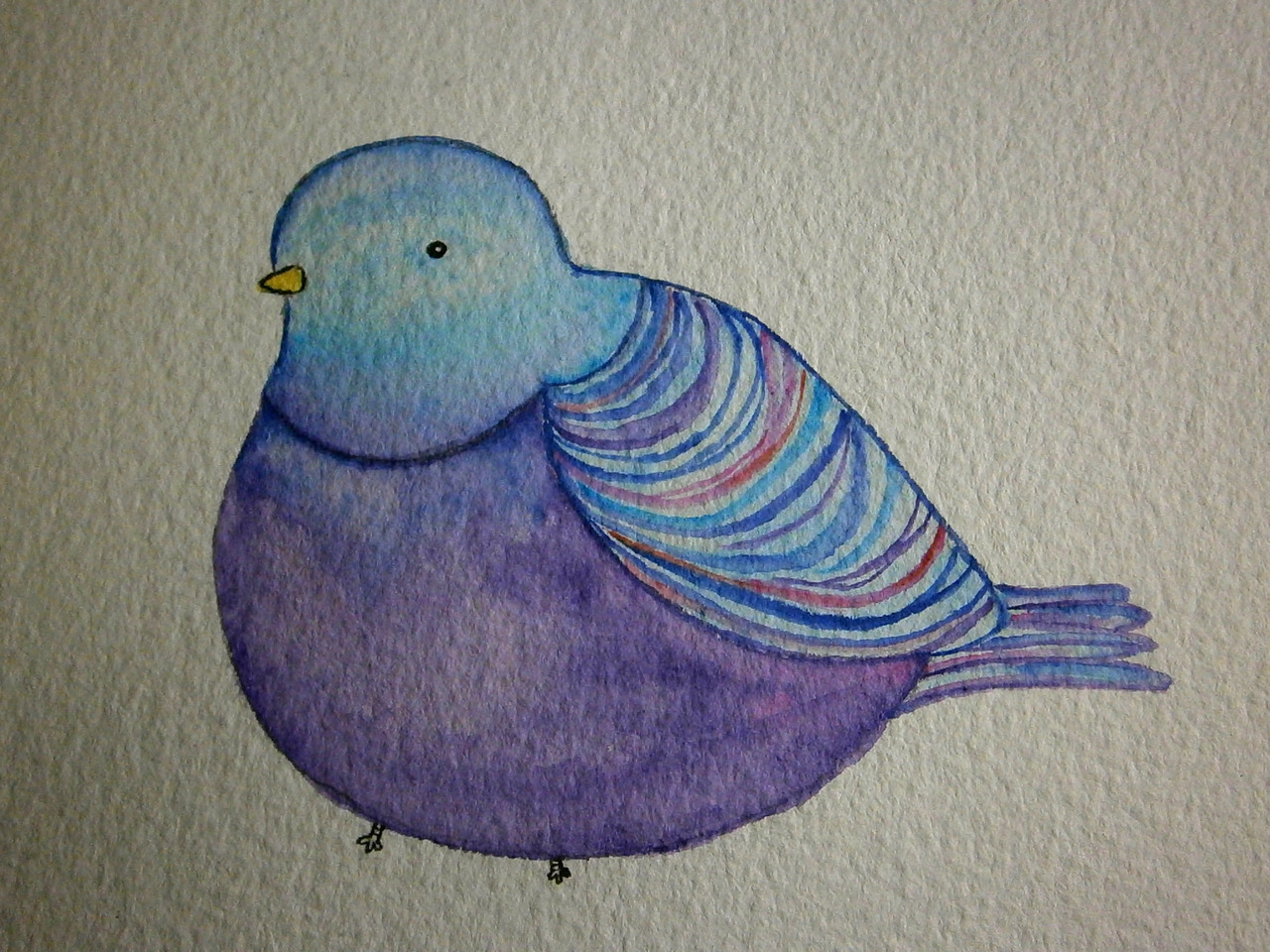 eatsleepdraw:  Pigeon inspired by the work of Kate Wilson (littledoodles.net) a birthday card for my friend :) Watercolour. come visit my tumblr for more: joyclan.tumblr.com :)
