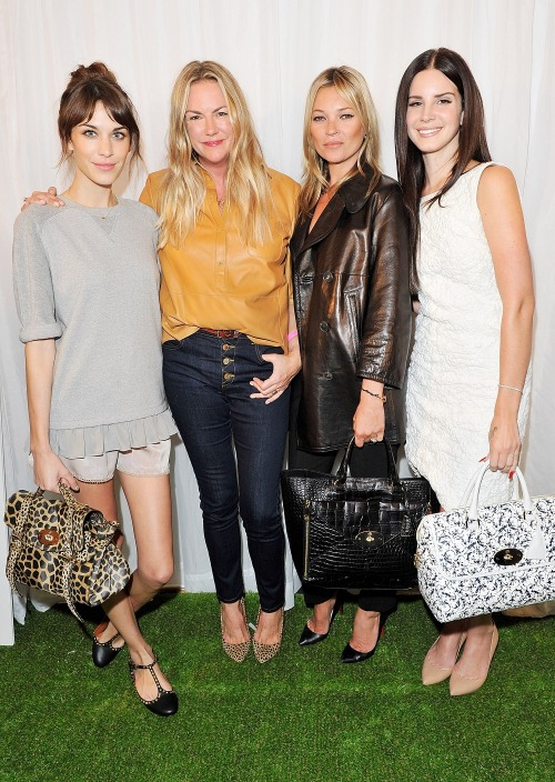 ofthemomentblog:  Mulberry designer Emma Hill with Alexa Chung, Kate Moss and Lana Del Reybackstage after the Mulberry Spring/Summer 2013 show.