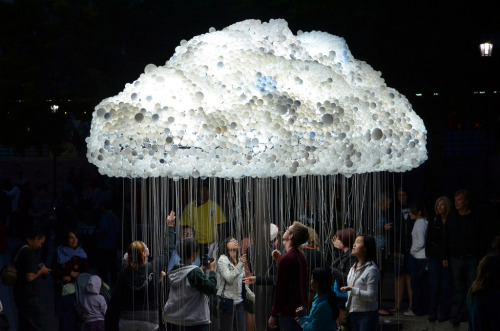 Cloud by Caitlind r.c. Brown Created out of 6,000 light bulbs the interactive installation invites visitors to pull the cords and turn the lights on and off as spectators witness the cloud shimmer and flicker as bulbs flip between light and dark. Incredibly out of the 6,000 bulbs, 5,000 of them are actually old burnt out bulbs donated to the artists by the public. The idea being that instead of wasting bulbs by throwing them away they would be put to a better, and more creative use, by turning trash in to treasure, and waste in to art.  Artists: | Website | [via: Inspir3d]