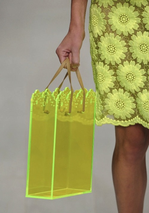 wgsn:  Great neon perspex bag on the Simone Rocha #lfw catwalk today