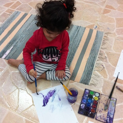 Tuesdays with Shosho. She's proud of her painting! (Taken with Instagram)