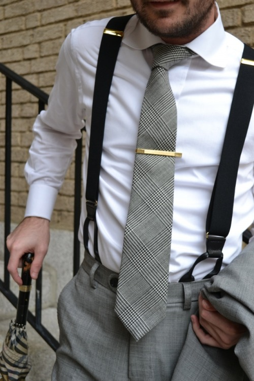 gntstyle:  Prince of wales tie   I like the idea of this outfit, but there are a few problems:-Tie clip is too wide; it should be shorter than the width of the tie-The adjusters on the suspenders should not be on your shoulders; they should be below the breast. Buy better fitting suspenders or get them adjusted. -The button placement for the suspenders to attach seem to be too close together, but this could be due to the photo/posture.-The tie seems too long, but again this could be the posture/photo making it look soNot trying to be critical, but simply pointing out the small details of which to be aware.