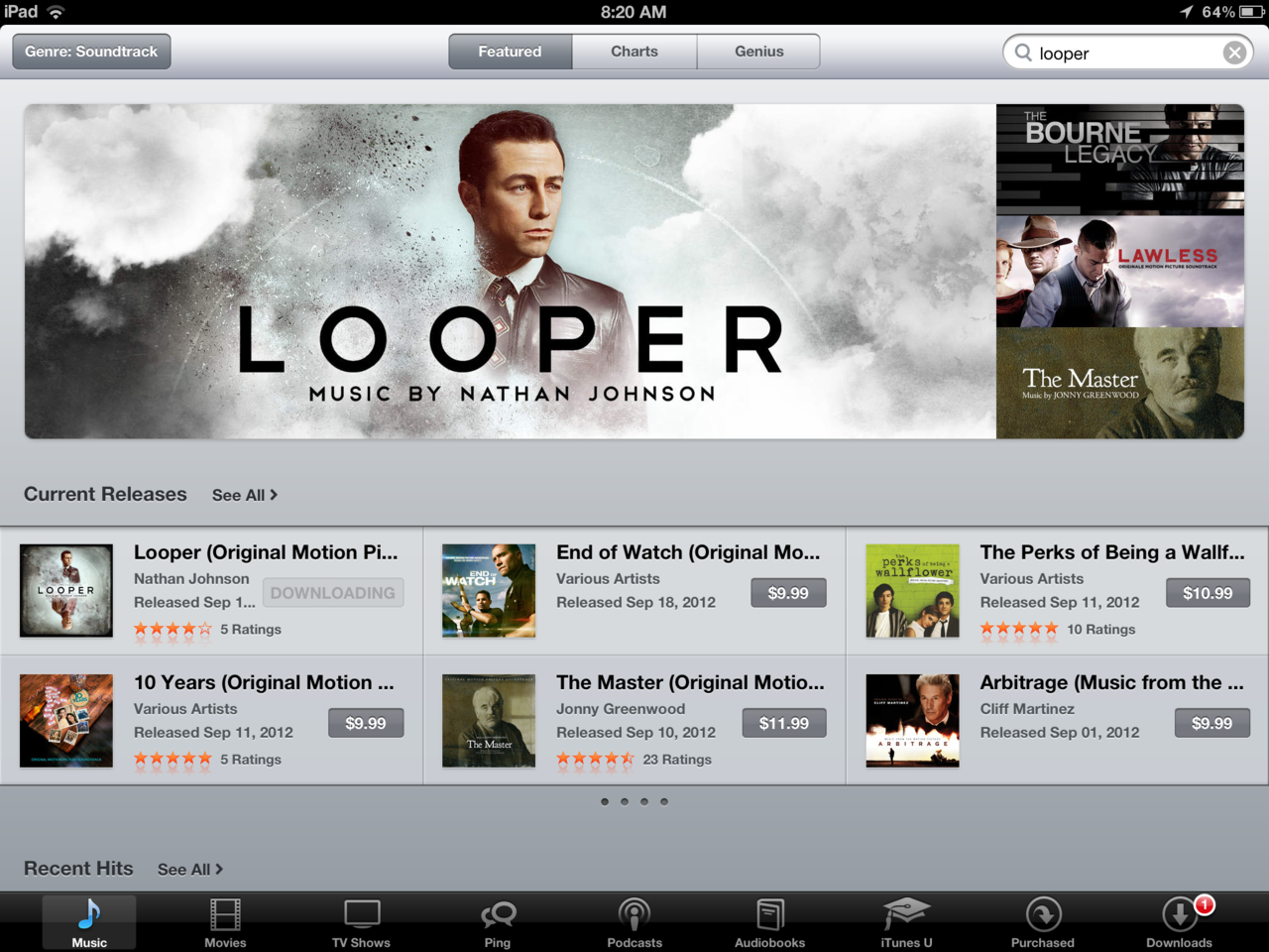 Whoa - The Looper album is on the front page of iTunes Soundtracks! Quite a thrilling shock to wake up to, especially when the next banner that comes up is Jonny Greenwood's score for The Master! So, that just made my day. More details to come this afternoon about the physical CD release :)