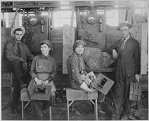 collective-history:  Women electric welders at Hog Island shipyard. These are the first women to be engaged in actual ship construction, in the United States., ca. 1918