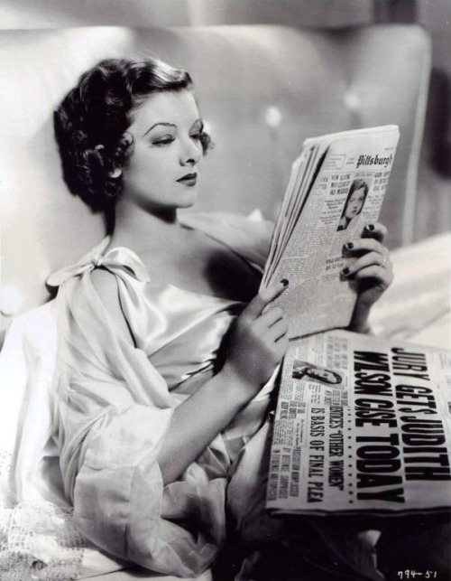 "books0977:  Myrna Loy reads about courtroom action from previous day. Evelyn Prentice (c.1934). Myrna Loy (1905-1993) plays Evelyn Prentice, wife of big name lawyer John Prentice (William Powell). She's a neglected wife who, suspecting her husband of an affair, gets involved with a petty gigolo, in a relationship that ends in blackmail and murder.  ""I never enjoyed my work more than when I worked with William Powell. He was a brilliant actor, a delightful companion, a great friend and above all, a true gentleman."" — Loy"