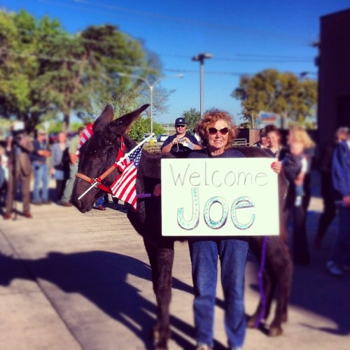 barackobama:  ofa-ia:  Mary and her donkey are fired up and ready to welcome Vice President Joe Biden to Ottumwa!   Today in day-making photos.