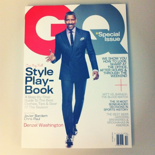 October's got a brand new cover star: Mr. Denzel Washington.  (Taken with Instagram)
