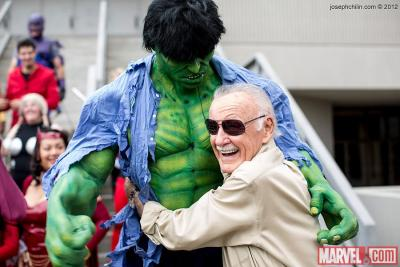 This. agentmlovestacos:  STAN LEE HUGGING THE HULK! STAN LEE HUGGING THE HULK! STAN LEE HUGGING THE HULK!  Photo by Joseph Chi Lin.  Best. Photo op. Ever! Great cosplay too.