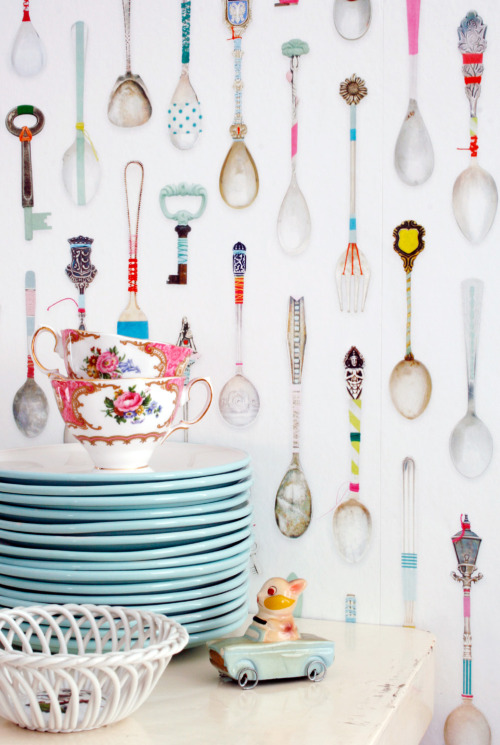 Teaspoons Wallpaper - Studio Ditte via Mocoloco