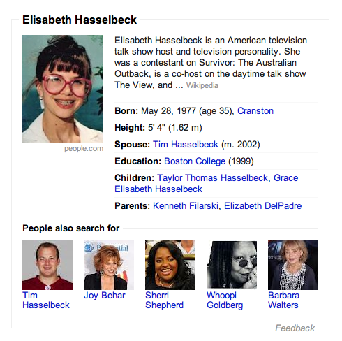 I have a sneaking suspicion that someone at Google doesn't care much for Elisabeth Hasselbeck.