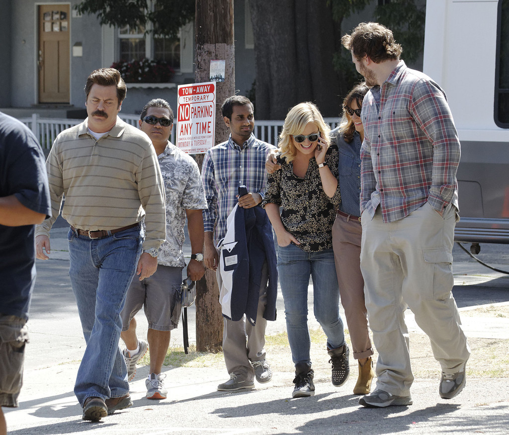 Nick Offerman, Aziz Ansari, Amy Poehler, Rashida Jones and Chris Pratt on the set of Parks and Recreation in LA, September 17th