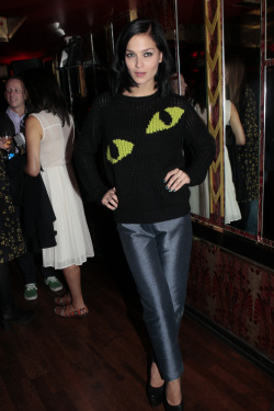 wgsn:  Leigh Lezark in an Eyes handknit sweater by JW Anderson for Topshop at the JW Anderson X Topshop party last night #lfw Photo courtesy of Topshop