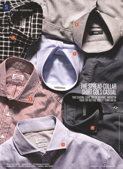 Hamilton included in a Details magazine round up of spread collars to be worn open.