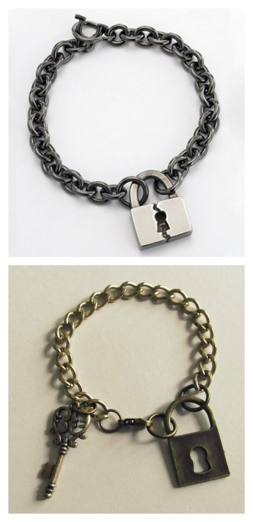 truebluemeandyou:  DIY Pnut Inspired Lock and Key Charm Bracelet from Wobisobi here. Top Photo: $219 Pnut Blacken Broken Lock Bracelet here, Bottom Photo: DIY by Wobisobi. All materials for this DIY were from Michaels. For more easy jewelry tutorials I love from Wobisobi go here: truebluemeandyou.tumblr.com/tagged/wobisobi *Give as a gift with the message: key to your success, key to your happiness, key to your dreams, key to your future etc…