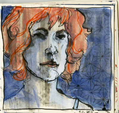 self-portrait with likeness. acrylic, watercolor, sumi ink, xerox transfer, markers.