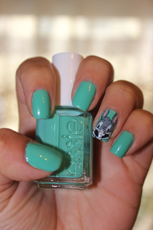 Attempt at Bugs Bunny using Essie's Turquoise and Caicos.Enjoy :)