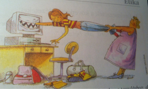 lemunplej:  doroo:  picture in my sister's book about the dangers of the internet  she smilin aint no danger she aight