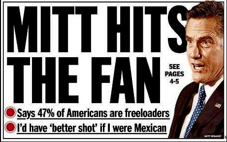 """Mitt hits the fan."" Amazing headline by New York Daliy News.  Mitt Romney caught on video telling wealthy GOP donors that 47 percent of Americans are government freeloaders.  Read more."