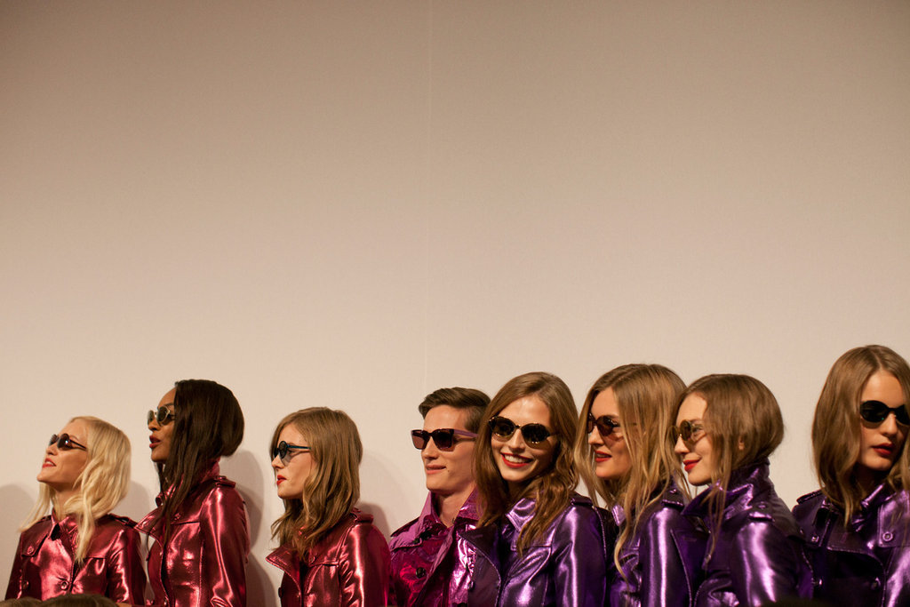 Shiny shades and trenches at Burberry Prorsum, photographed by Linda Brownlee. See all our pics here.