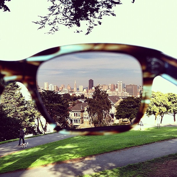 warbyparker:  SF through Blue Marblewood frames. Photo by Ike Edeani. (Taken with Instagram at Alamo Square)