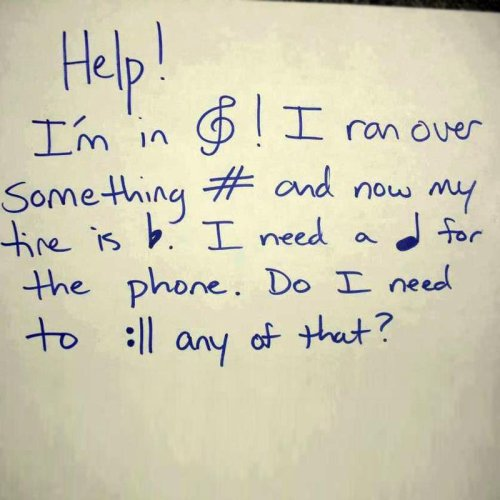 Your Music Teacher Needs Some Assistance The # means hashtag, right?