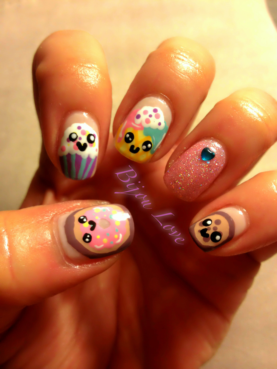 "bijoulovebyglow:  Sweets nail art inspired by YouTube-r Reneirainyday from her ""Cute icecream summer nail art"" tutorial. Click on the pic to go to her tutorial!"