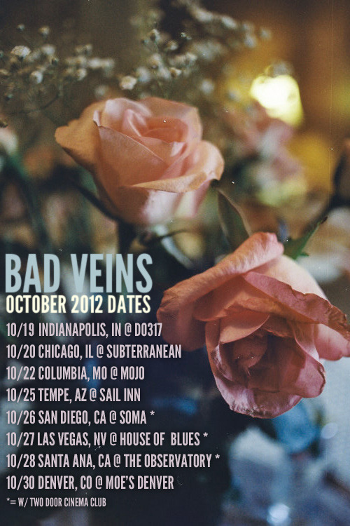 Bad Veins October Tour Dates! We're excited to announce we're making a short cross-country run in October, including a few West Coast dates with our pals Two Door Cinema Club! Tickets for most of these shows are available now! Also, we're working on starting our Bad Friends FB groups in each city. If you're in a city where we don't have a group yet, let us know! We should be announcing more shows for November very soon! 10/19 Indianapolis, IN @ Do317Bad Friends: Indianapolis | Tickets 10/20 Chicago, IL @ Subterranean Bad Friends: Chicago | Tickets 10/22 Columbia, MO @ MOJO Bad Friends: Columbia | Tickets 10/25 Tempe, AZ @ Sail Inn Bad Friends: Tempe | Tickets 10/26 San Diego, CA @ Soma (w/ Two Door Cinema Club) Bad Friends: San Diego | Tickets 10/27 Las Vegas, NV @ House Of Blues (w/ Two Door Cinema Club) Bad Friends: Las Vegas | Tickets 10/28 Santa Ana, CA @ Obervatory (w/ Two Door Cinema Club) Bad Friends: Orange County | SOLD OUT 10/30 Denver, CO @ Moe's Denver Bad Friends: Denver | Tickets