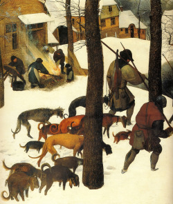 alongtimealone:   Brueghel,P.(eldr).Hunters in the snow (Winter).1565.hunters.[Vienna] (by arthistory390)