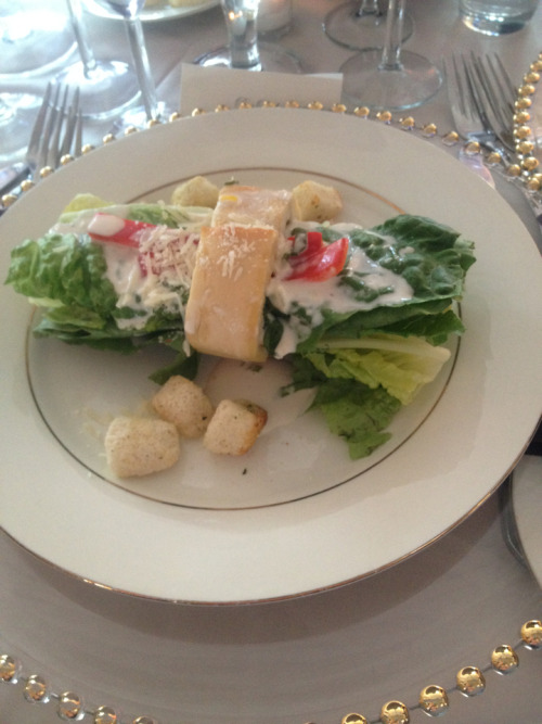 I went to a beautiful water front wedding today! I had a salad. I thought it was very creative how the sour dough was used to hold the salad together! Bell peppers were a delicious alternative from tomatoes! For more great lifestyle tips read Fromgirltogirl at www.fromgirltogirl.com and like us on Facebook at www.facebook.com/ fromgirltogirl !