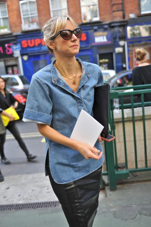 netaporter:  Denim meets leather #LFW #StreetStyle