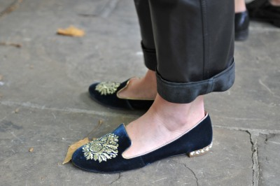 Flat out style – we love these Miu Miu velvet slippers #LFW