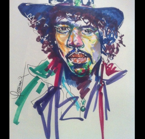R. Peterson Jimi Hendrix  Copic & Ink on paper