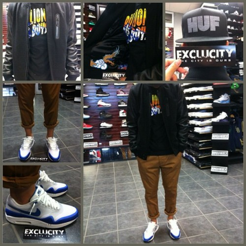 Check out one of our employees fit of the day! Keep submitting your pictures and don't forget to use the hash Exclucity hash tags! #Exclucitylife #WDYWTexclucity #WDYWT #Kicksmtl #AM1Hyperfuse #Obey #BBC #Nike #NSW #YOTDdestroyer #HUF (Taken with Instagram)