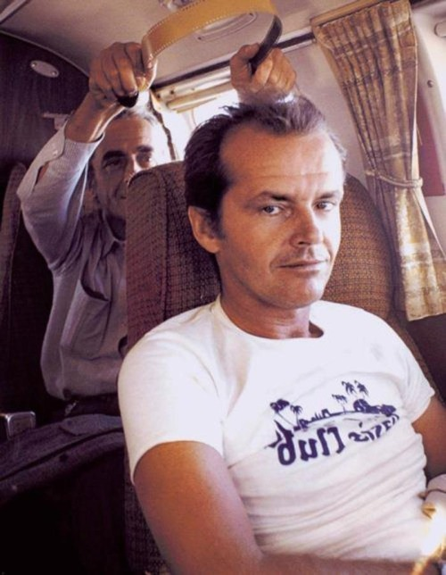 Antonioni & Nicholson on the set of The Passenger (1975)