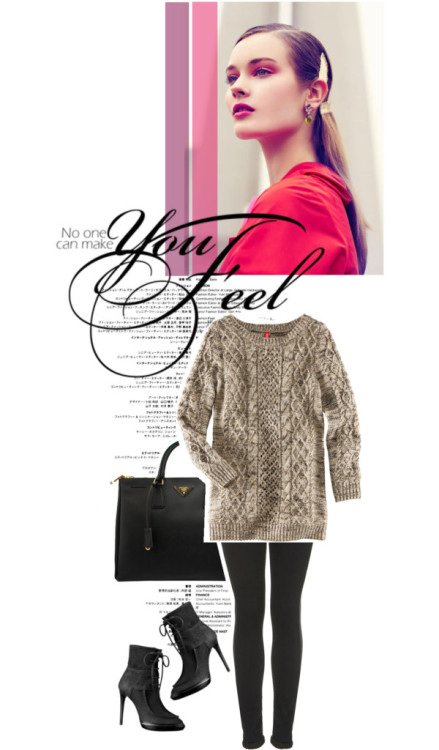 YOU FEEL. by osnapitsasmaa featuring burberry bootsH&M long sweater, $32 / Skinny jeans / Burberry  boots / Prada leather handbag, $2,090