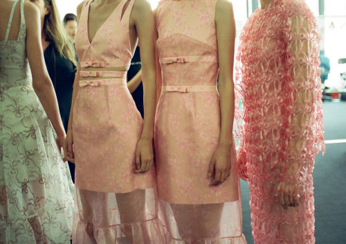 backstage at Christopher Kane S/S 2013 photographed by Roberto Ridolfi