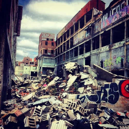 The Packard Automotive Plant is a former automobile-manufacturing factory in Detroit, Michigan where luxury Packard cars were made. The Packard plant was opened in 1903 and closed in 1958, though the structures remain mostly intact as of 2012. (Source: Wikipedia) (Taken at Packard Plant)