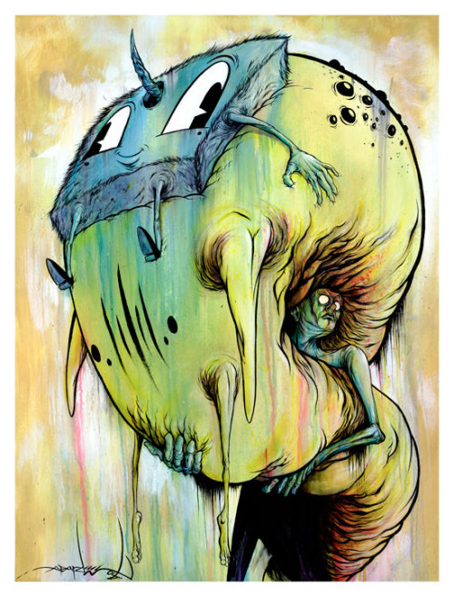 "pardeemonster:  ""The Gatling"" By Alex Pardee This WAS the FREE limited signed print that you would have received if you were one of the first 500 people to order my ""AWFUL/HOMESICK"" Art Book which is FINALLY back in print after 3 years! Available HERE NOW! (unfortunately the free print is now sold out, but the book is still available!)"