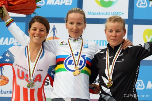 Road World Championships 2012 | Elite Women Time Trial Another world title for Judith Arndt!  A great result in what is her last world championships before retiring. Making up the podium: Evelyn Stevens and Linda Villumsen. (via Wall Photos)