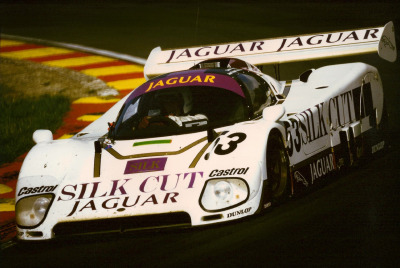 slick cut …Jean-Louis Schlesser in the Silk Cut Jaguar XJR-6 during the 1986 Brands Hatch 1000km