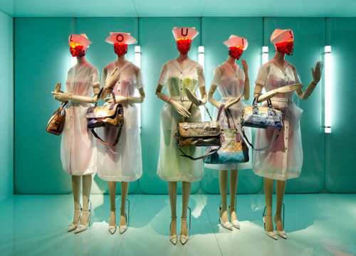 Desi Santiago's sinister robo-nurses sport Louis Vuitton's 2007 collaboration with Richard Prince.