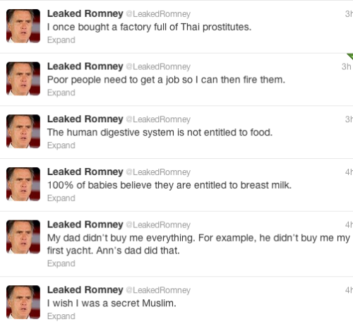 Leaked Romney is really doing it for me today.